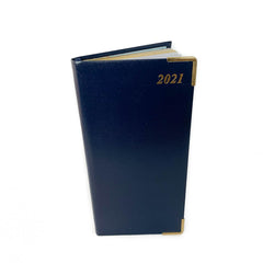 "Charing Cross 2021 6"" Bonded Leather Pocket Calendar in Navy-Calendar-Sterling-and-Burke"