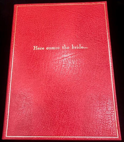 "Leather Notebook, 8x6, ""Here Comes the Bride..."" 