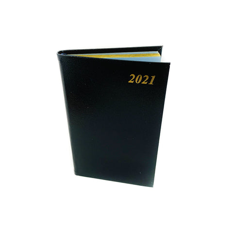 "Charing Cross 2021 5"" Bonded Leather Pocket Calendar in Black"
