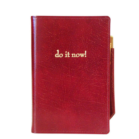 """Do It Now!"" Leather Cover with Removable Notes, 6 by 4 Inches"