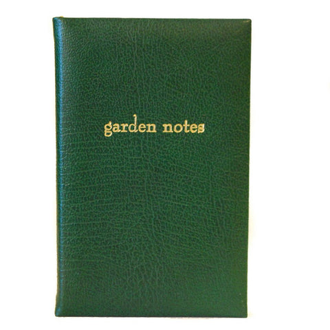 "Leather Notebook, 7x4, ""Garden Notes"" 