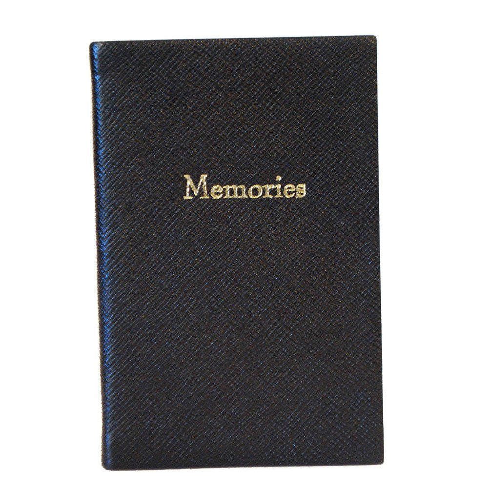 """Memories"" Crossgrain Leather Notebook, 6 by 4 Inches-Titled Notebooks-Sterling-and-Burke"