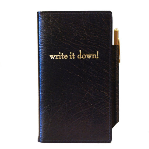 "Leather Cover with Removable Notes, 6x3, ""Write it Down"""