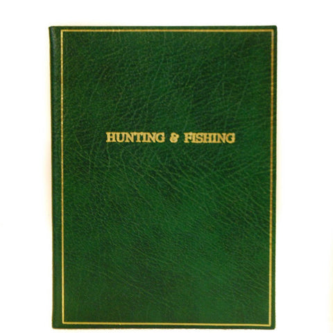 "Calf Notebook, 8x6, ""Hunting & Fishing"", Blank Pages"
