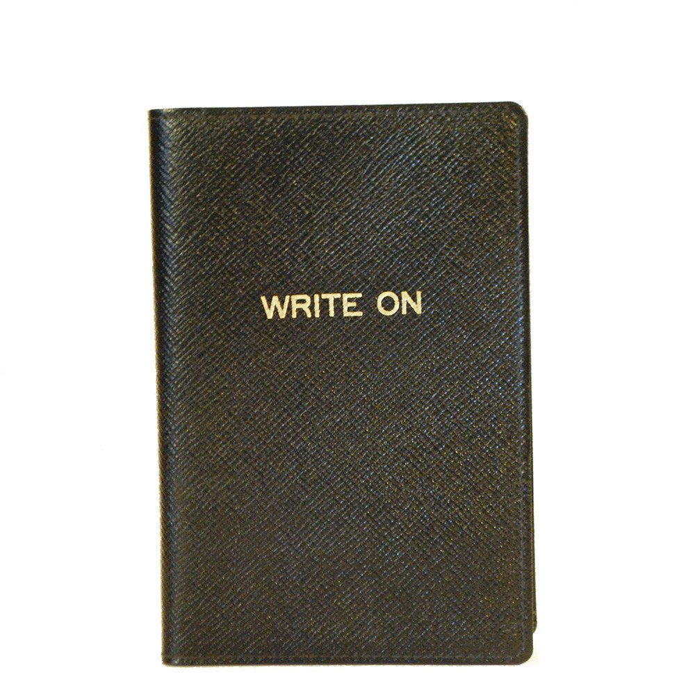 "Leather Cover with Removable Notes, 6x4, ""Write On""-Titled Notebooks-Sterling-and-Burke"