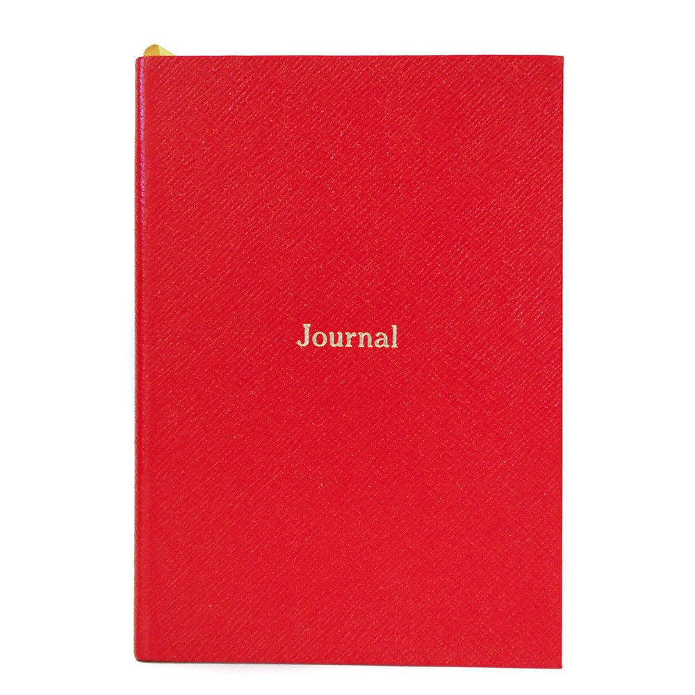 """Journal"" Crossgrain Leather Notebook, 8 by 6 Inches-Titled Notebooks-Sterling-and-Burke"