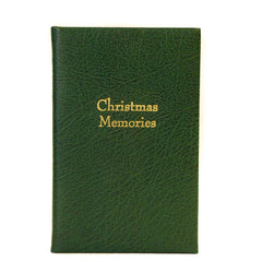"""Christmas Memories"" Crossgrain Leather Notebook, 6 by 4 Inches-Titled Notebooks-Sterling-and-Burke"