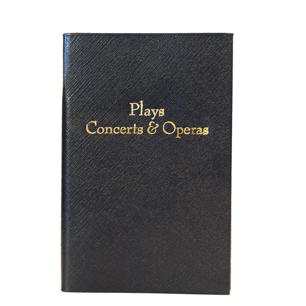"""Plays Concerts & Operas"" Crossgrain Leather Notebook, 7 by 5 Inches-Titled Notebooks-Sterling-and-Burke"