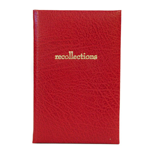 """Recollections"" Calf Leather Notebook, 7 by 5 Inches-Titled Notebooks-Sterling-and-Burke"