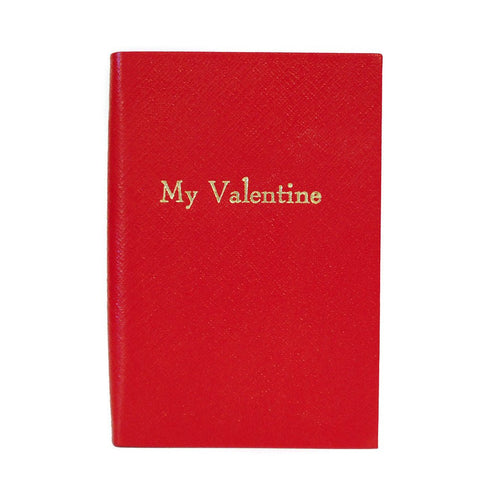 """My Valentine"" Crossgrain Leather Notebook, 6 by 4 Inches-Titled Notebooks-Sterling-and-Burke"