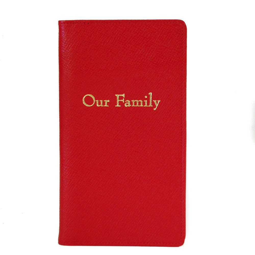"""Our Family"" Leather Cover with Removable Notes, 6 by 3 Inches-Titled Notebooks-Sterling-and-Burke"