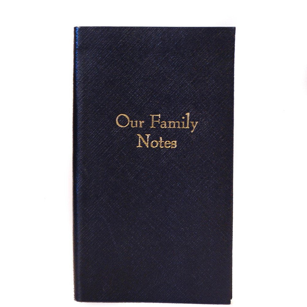 """Our Family Notes"" Crossgrain Leather Notebook, 7 by 4 Inches-Titled Notebooks-Sterling-and-Burke"