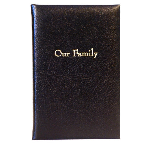 """Our Family"" Calf Notebook, 7 by 5 Inches-Titled Notebooks-Sterling-and-Burke"