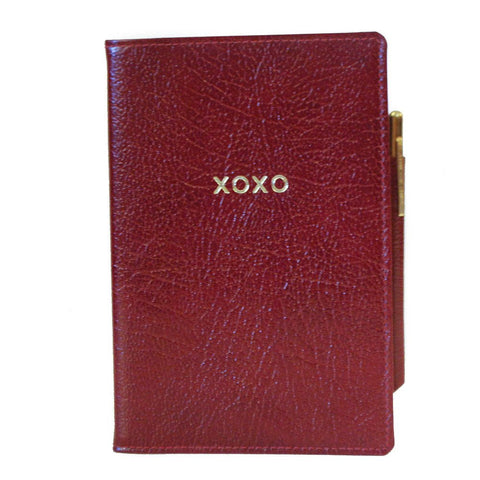 "Leather Cover with Removable Notes, 6x4, ""XOXO"""