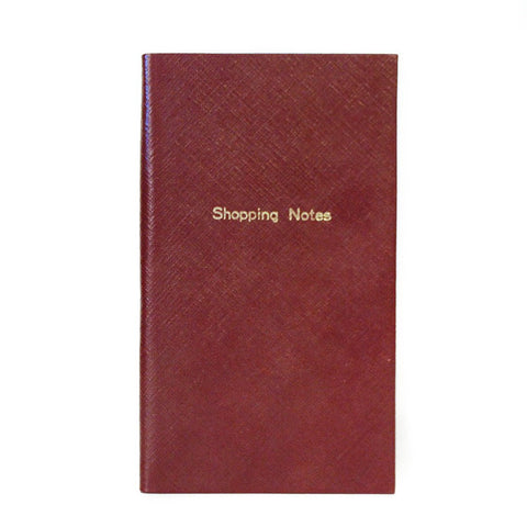 "Crossgrain Leather Notebook, 7x4, ""Shopping Notes"""