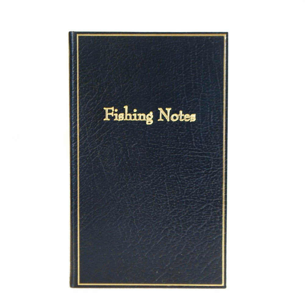 "Leather Notebook, 7x4, ""Fishing Notes"" 