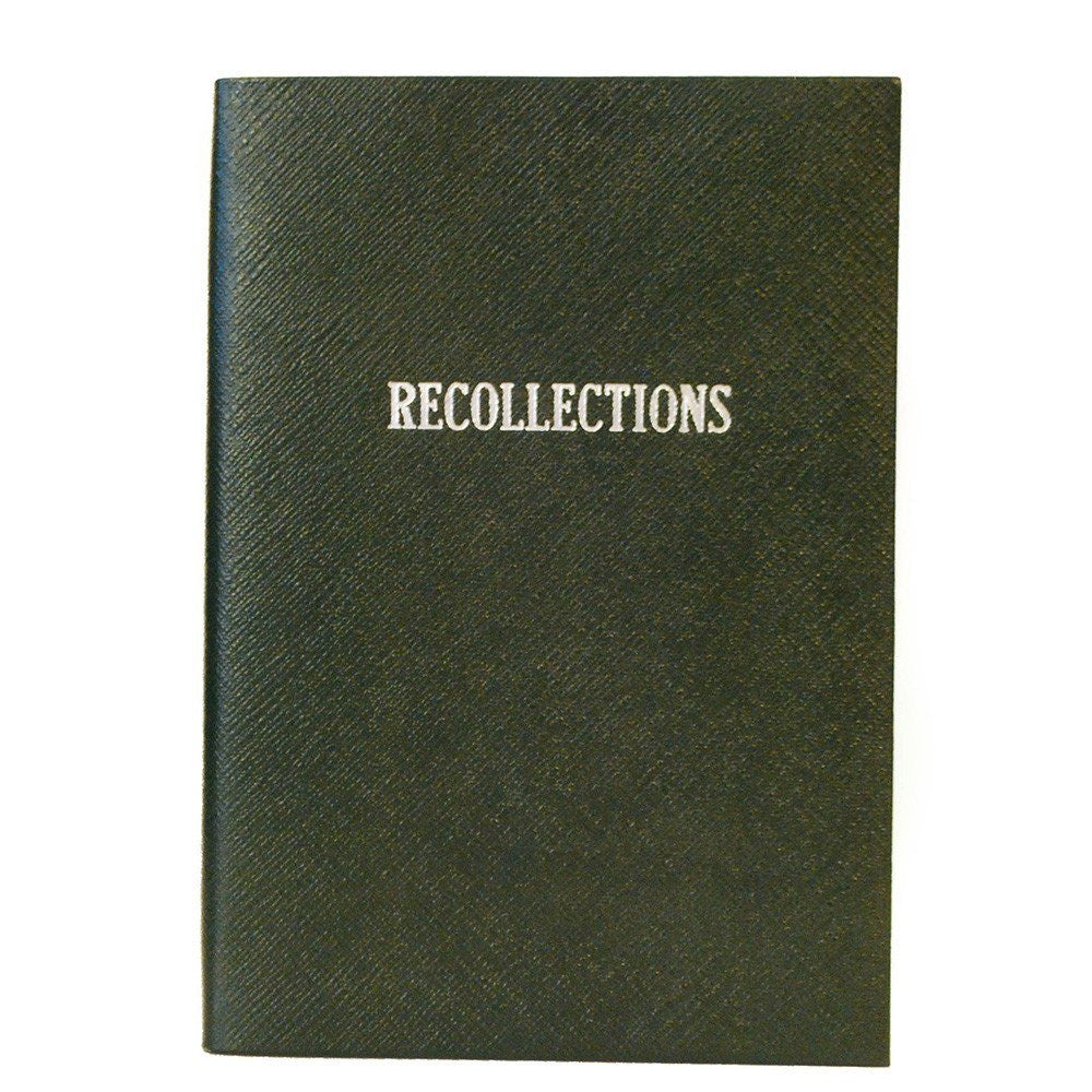"""Recollections"" Crossgrain Leather Notebook, 8 by 6 Inches-Titled Notebooks-Sterling-and-Burke"