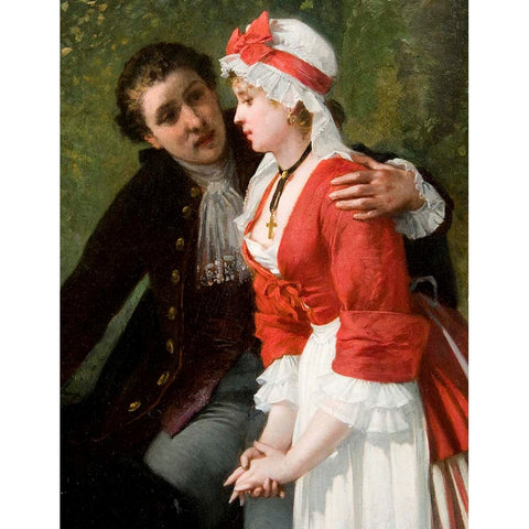 "Antique Oil Painting | The Gentleman's Confession by Charles Hue | 38 1/2"" x 30""-Oil Painting-Sterling-and-Burke"