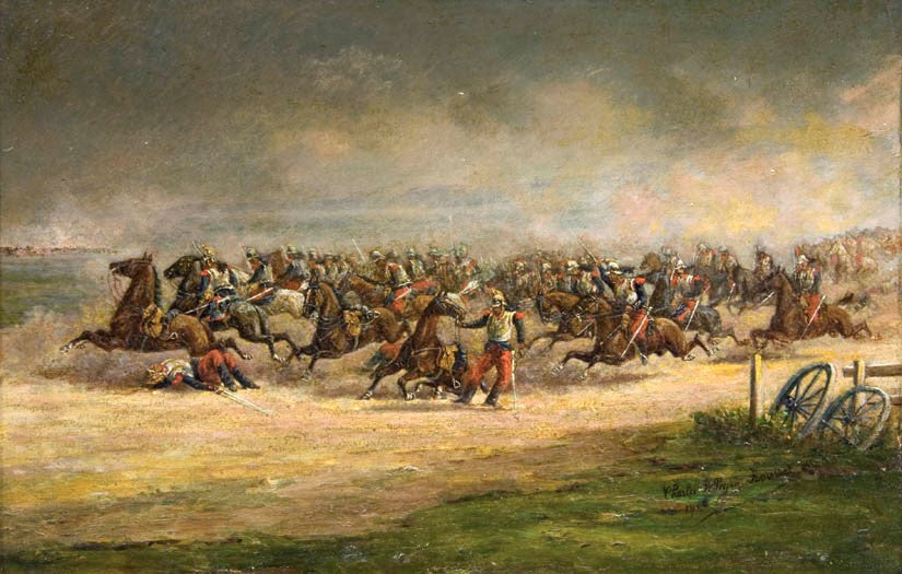 "Antique Oil Painting on Board | A Cavalry Charge by the French Imperial Army by Charles Roussel | 15"" by 18.75""-Oil Painting-Sterling-and-Burke"
