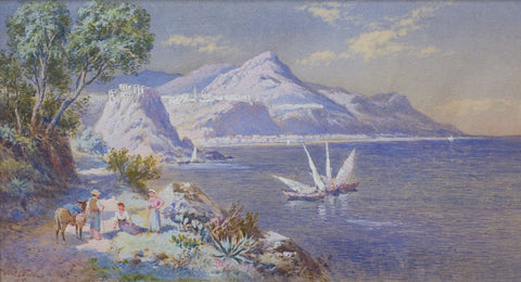 Antique Watercolor | View of La Scilla, Calabria | 13.25 by 17.75 Inches-Watercolor-Sterling-and-Burke