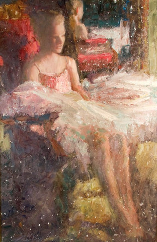 Antique Oil on Board | Dancer Reflections by Charles W. Mundy | 46 by 33 Inches