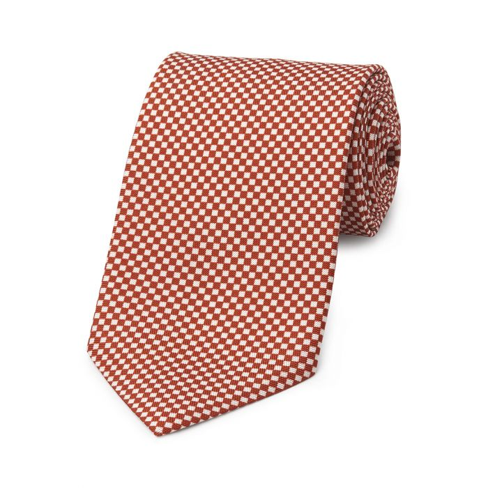Budd Checkerboard Hopsack Silk Tie in Copper and Cream-Necktie-Sterling-and-Burke