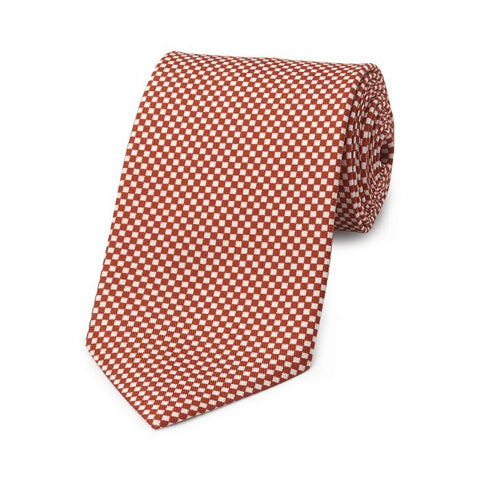 Budd Checkerboard Hopsack Silk Tie in Copper and Cream
