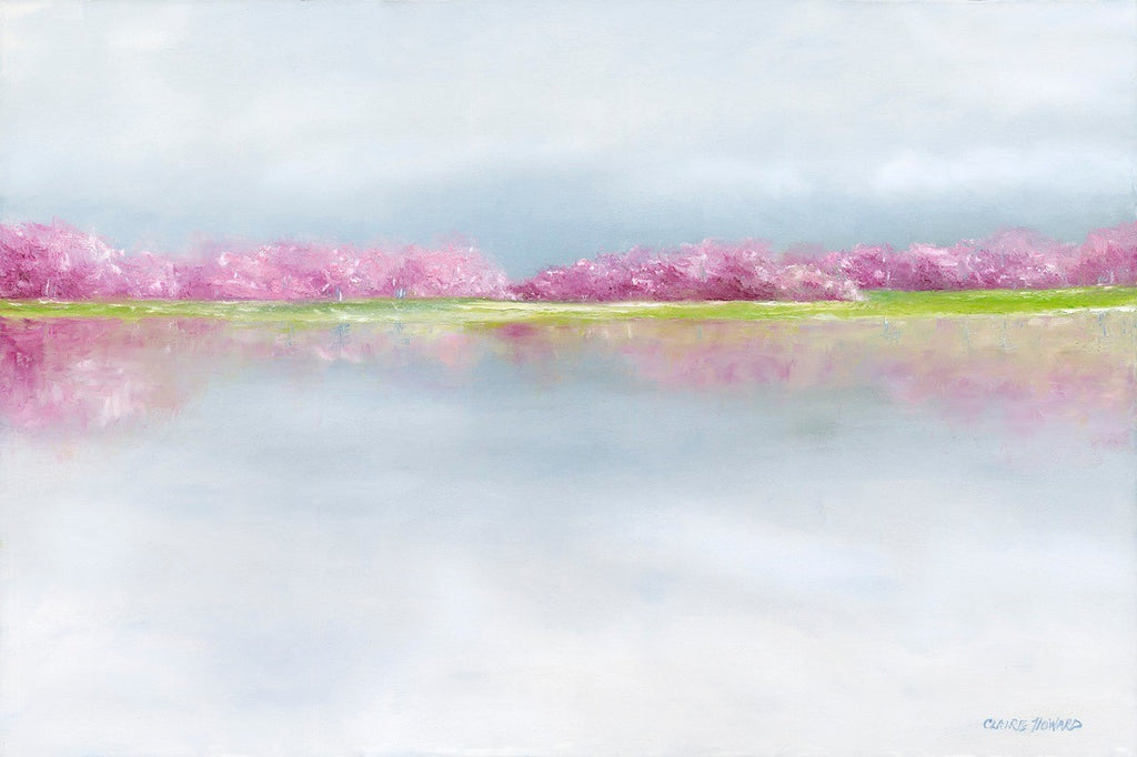 April Afternoon | Washington, DC Art | Cherry Blossom Oil Painting | 24 by 36 Inches | Artist Claire Howard-Oil Painting-Sterling-and-Burke
