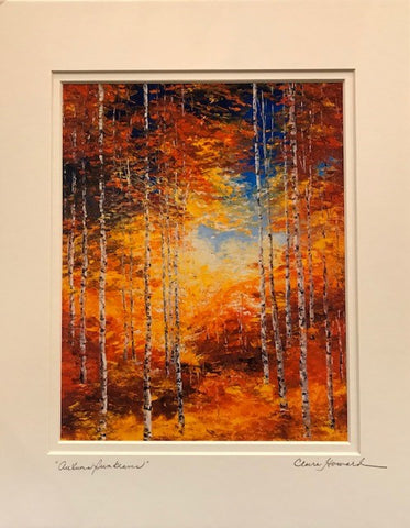 "Art | Autumn Sunbeams | Giclee with Mat, Hand Signed by Claire Howard | 14"" x 11"""