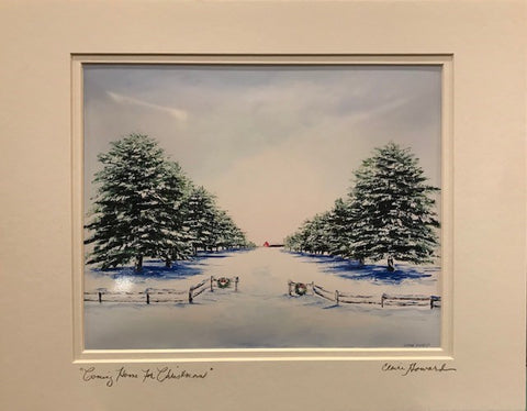 "Art | Coming Home for Christmas | Giclee With Mat Hand Signed by Claire Howard | 11"" x 14"""