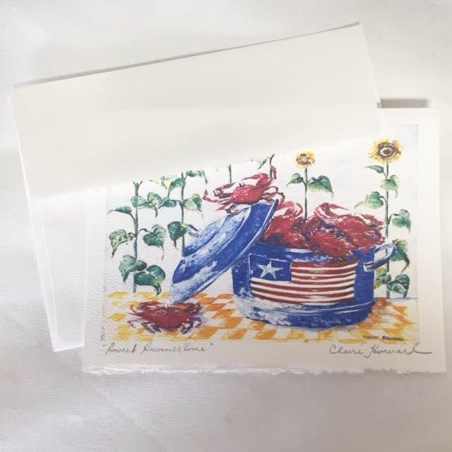 Sweet Summertime | Hand Signed Card | 5 by 7 Inches | Claire Howard-Greeting Cards-Sterling-and-Burke