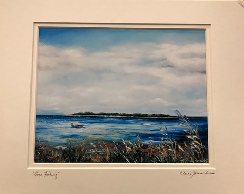 "Art | Gone Fishing | Giclee With Mat Hand Signed by Claire Howard | 11"" x 14""-Giclee Print-Sterling-and-Burke"