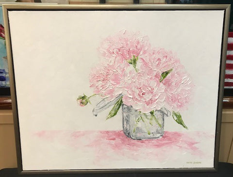 "Art | He Brought Her Peonies | Original Oil Painting with Custom Frame by Clare Howard | 25.5"" x 31.5"""