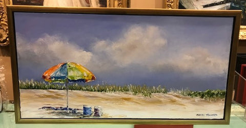 "Art | Just You & Me | Oil Painting Framed in Gold by Claire Howard | 13.5"" x 25.5""-Oil Painting-Sterling-and-Burke"