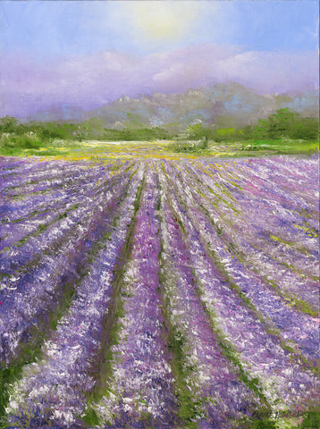 Lavender Fields of Provence | Original Oil Painting | 24 by 18 Inches | Artist Claire Howard-Oil Painting-Sterling-and-Burke