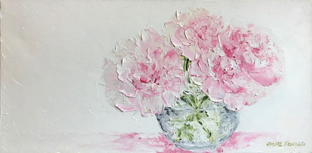 "Art | Little Peonies | Original Oil Painting by Claire Howard | 10"" by 20""-Oil Painting-Sterling-and-Burke"