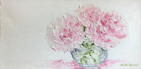 "Art | Little Peonies | Original Oil Painting by Claire Howard | 10"" by 20"""