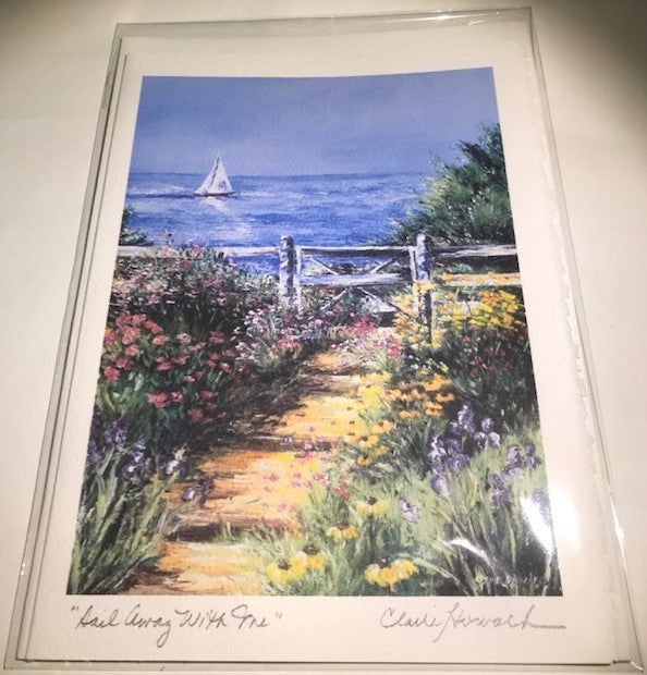 "Art | Sail Away With Me Card | Hand Signed by Claire Howard | 7"" x 5""-Greeting Cards-Sterling-and-Burke"
