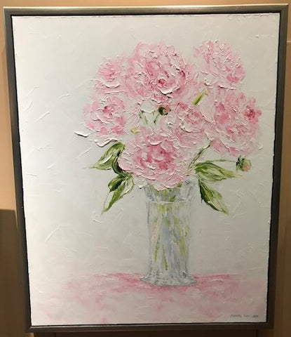 "Art | She Loved Peonies | Original Oil Painting with Custom Frame by Claire Howard | 31.5"" x 25.5"""