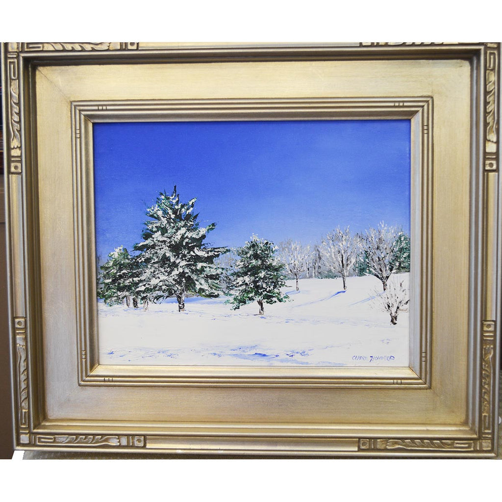 Snow Covered Landscape, Original Oil Painting by Claire Howard-Oil Painting-Sterling-and-Burke