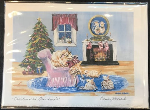 "Art | Christmas At Grandma's | Stationary Note Card | Hand Signed by Claire Howard | 5"" x 7"""