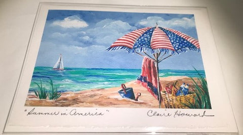 "Art | Summer In America | Hand Signed Card by Claire Howard | 5"" x 7"""