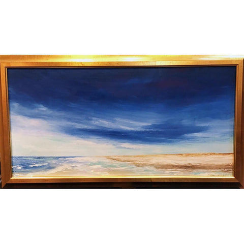 "Art | Summer Seascape | Original Oil by Claire Howard | 18"" x 33""-Oil Painting-Sterling-and-Burke"