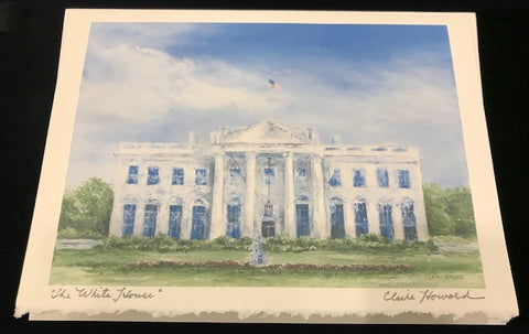 "Art | The White House | Stationery Note Card | Hand Signed by Claire Howard | 5"" x 7"""
