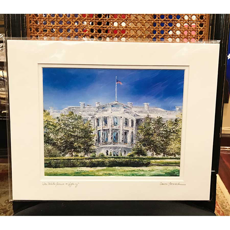 "Art | The White House in Spring | Giclee with Mat by Claire Howard | 8"" x 10""-Giclee Print-Sterling-and-Burke"
