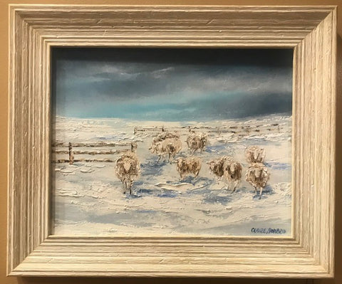 "Art | A Winter Welcome | Original Oil Painting with Distressed White Frame by Claire Howard | 11"" x 14""-Oil Painting-Sterling-and-Burke"