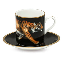 Fine English Bone China | MW Tiger Coffee Cups and Saucers, Black | Set of 6 | Halcyon Days | Made in England-Coffee / Tea Set-Sterling-and-Burke