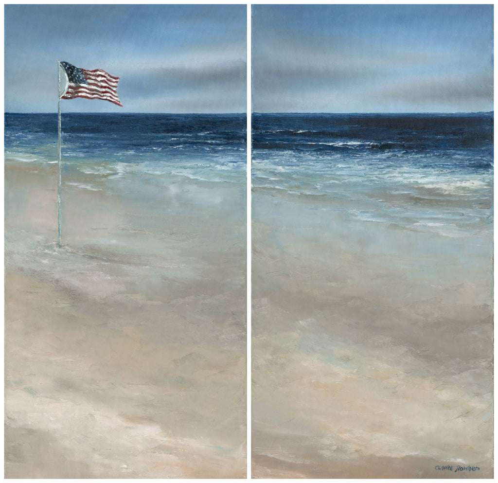 "Art | America, the Beautiful Shores | Original Oil Paintings by Claire Howard | Diptych 31"" x 30""-Oil Painting-Sterling-and-Burke"