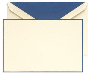 Navy Bordered Correspondence Cards | Kid Finish | Ecruwhite | Crane & Co.-Stationery-Sterling-and-Burke