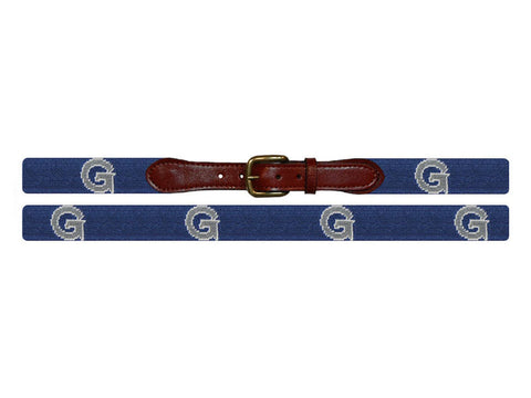 Needlepoint Collection | Georgetown University Needlepoint Belt | Hoya GU Belt | Blue and Grey | Smathers Branson-Belt-Sterling-and-Burke